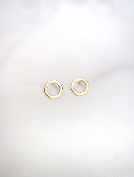 tiny gold hexagon stud earrings