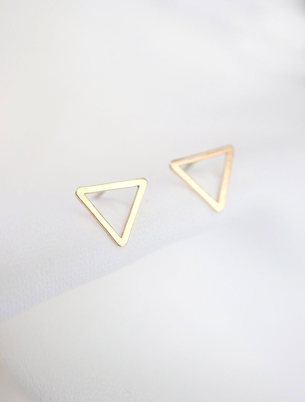 open triangle studs gold