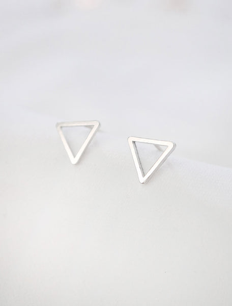 silver open triangle stud earrings