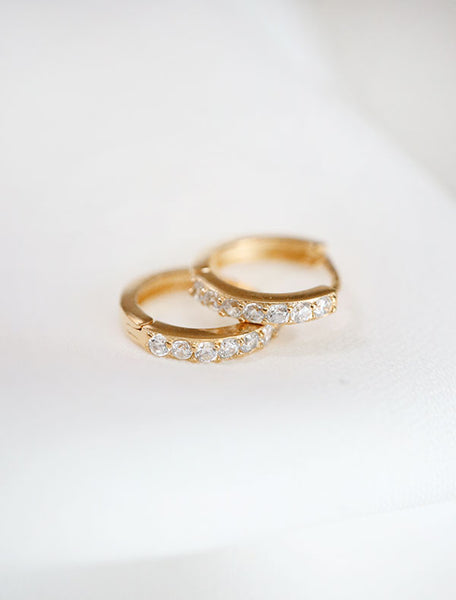 gold vermeil pave huggie hoop earrings