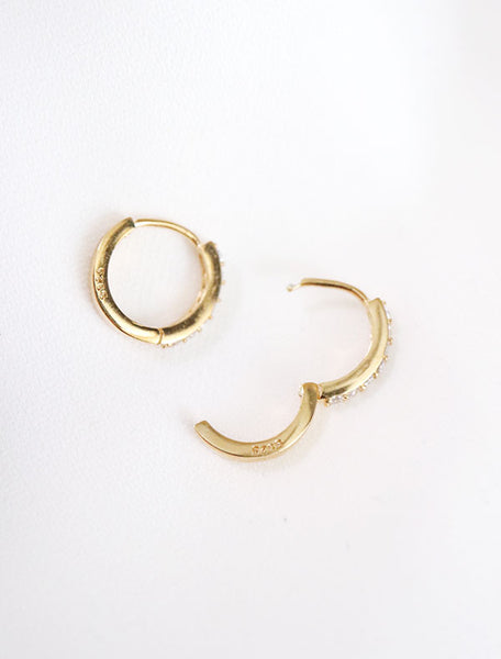 gold vermeil pave hoop earrings hinge