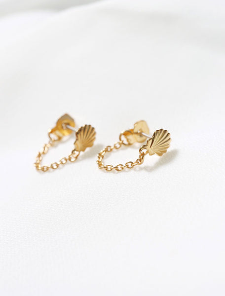 gold filled seashell chain stud earrings close up