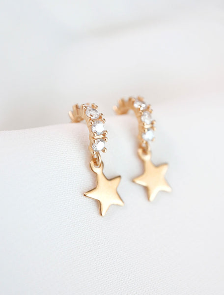 gold filled star charm cz hoops
