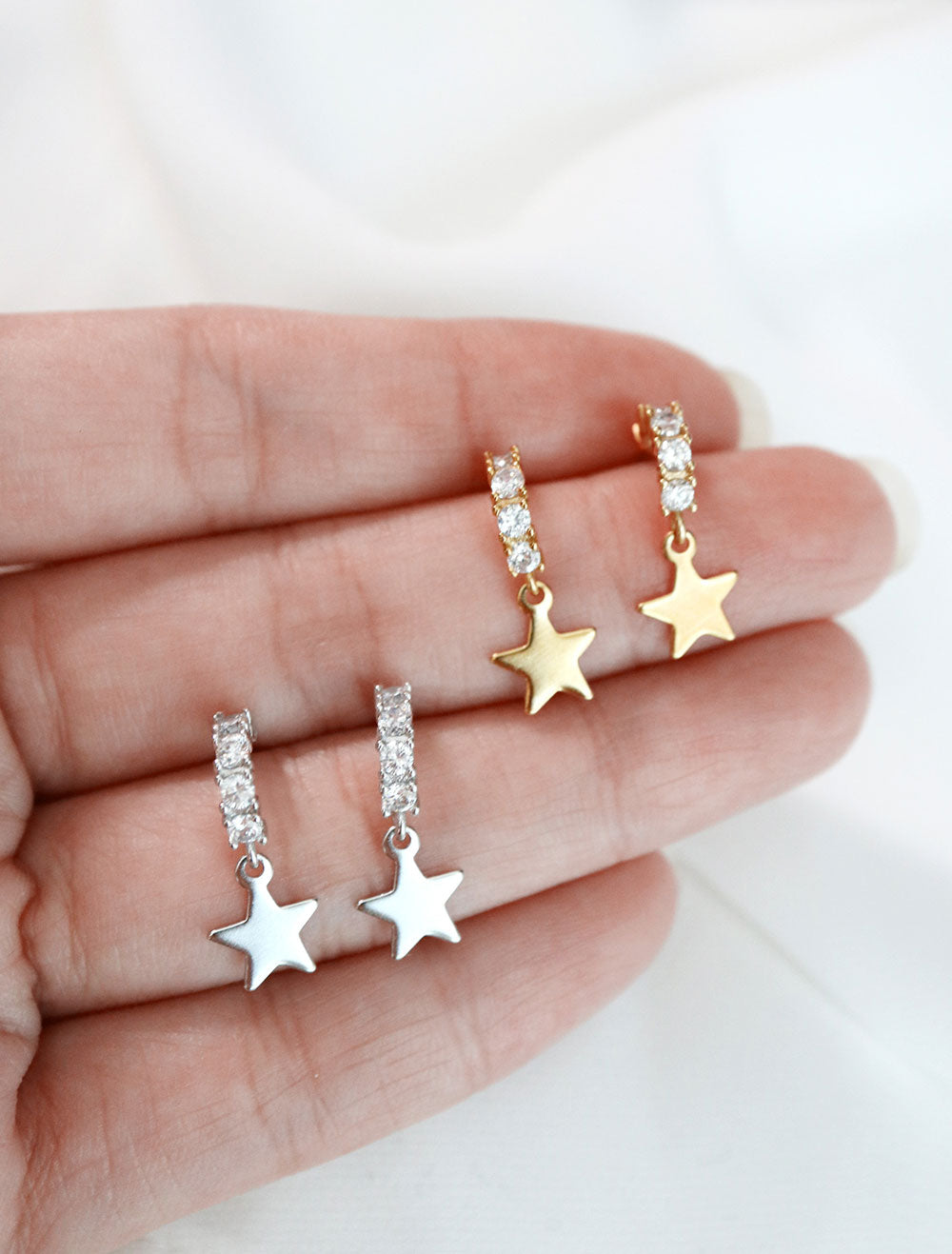 silver & gold filled pave star charm hoops