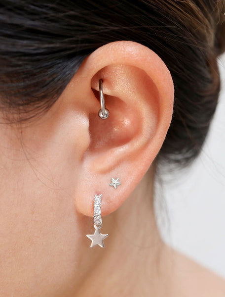 pave star charm hoops modelled