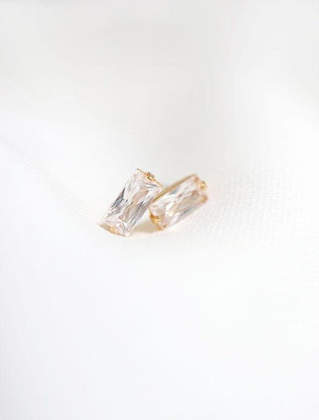 gold filled cubic zirconia baguette earrings