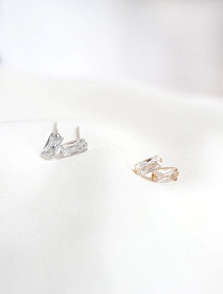 silver and gold filled baguette cz earrings