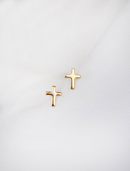 tiny gold filled cross stud earrings