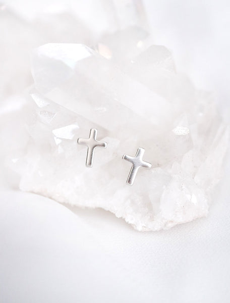 tiny silver cross stud earrings