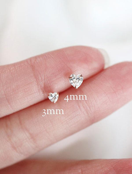 tiny crystal heart earrings in 3mm and 4mm