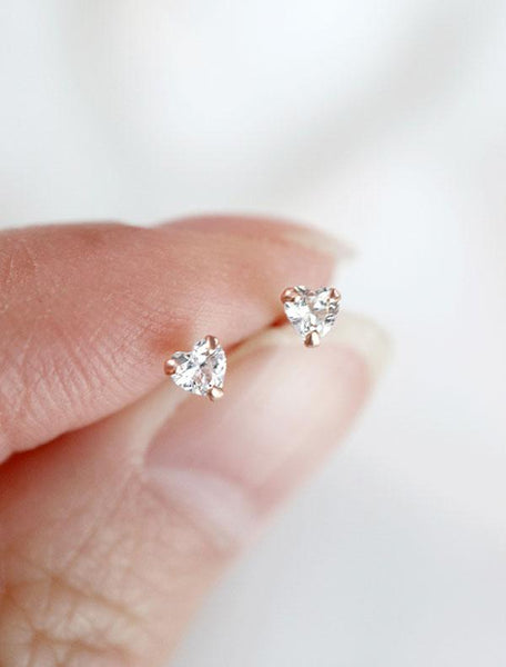 micro heart stud earrings with cubic zirconia