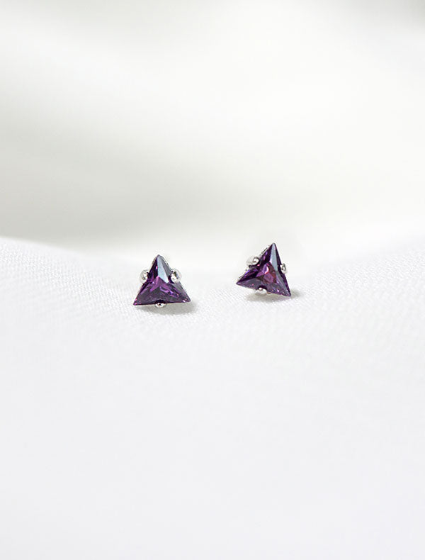 tiny amethyst triangle stud earrings, february birthstone