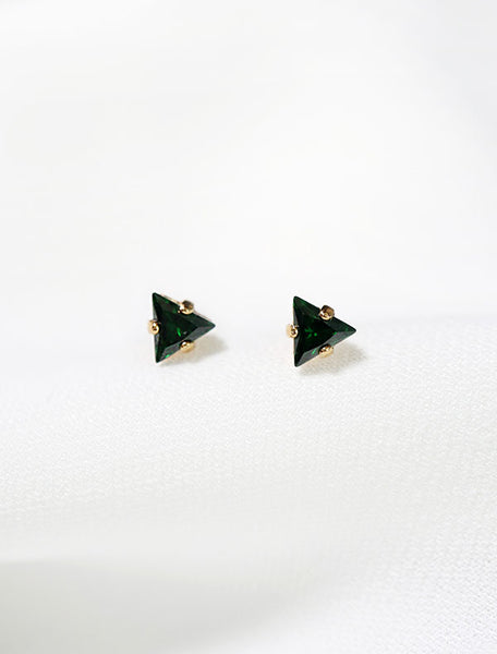 tiny emerald triangle stud earrings, may birth stone