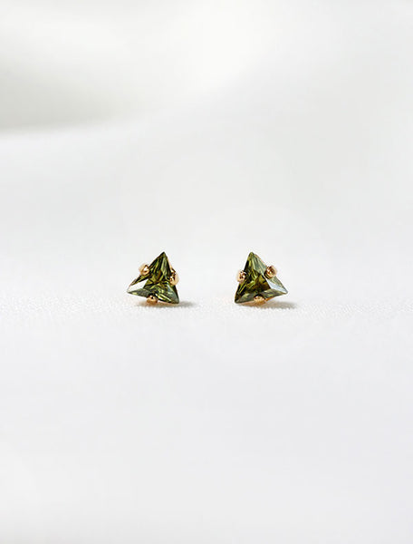 tiny olivine triangle studs, august birthstone