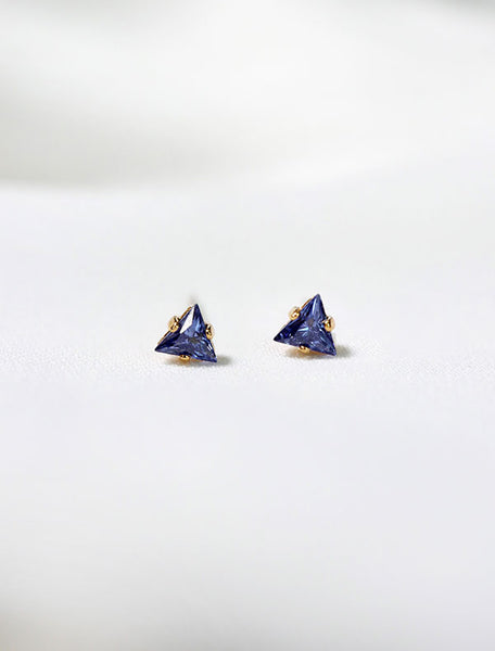 tiny sapphire triangle stud earrings, september birth stone