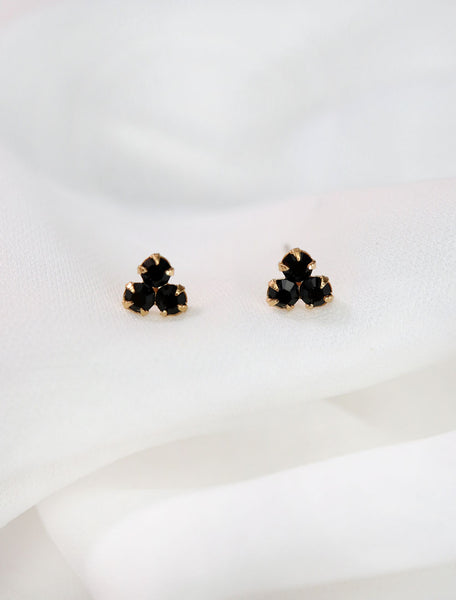 black crystal trefoil stud earrings