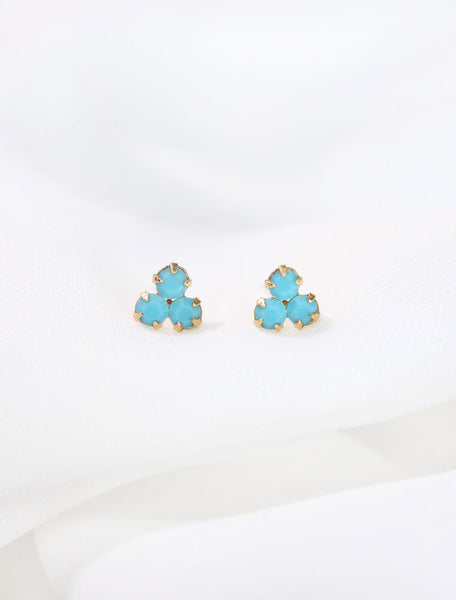 gold filled turquoise trefoil stud earrings