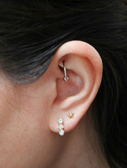 crystal triple bar earrings modelled