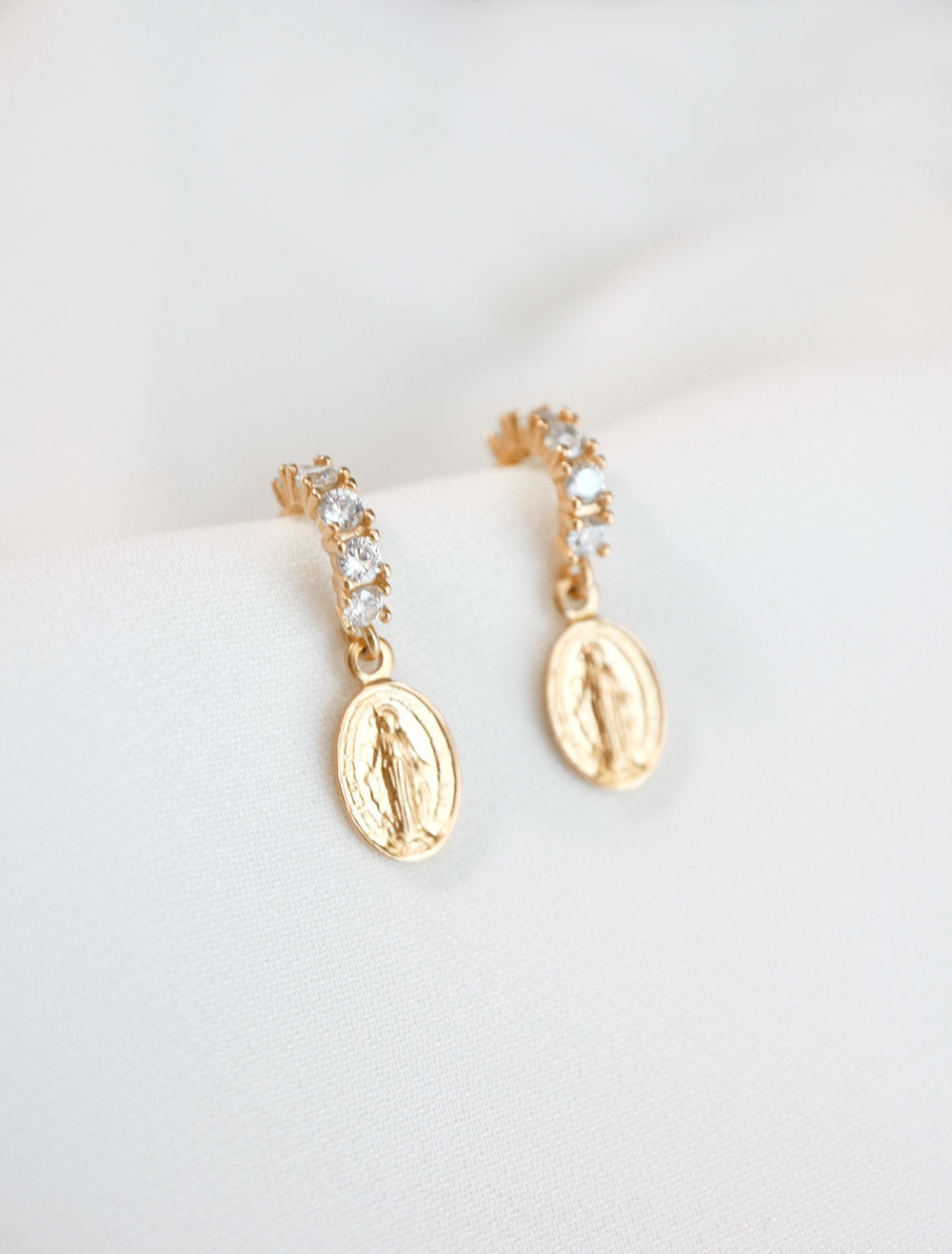 gold pave virgin mary hoop earrings side view