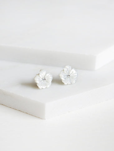 carved mother of pearl flower earrings