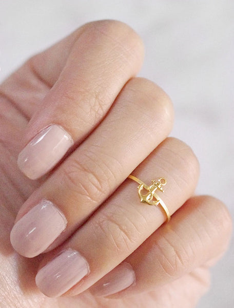 tiny gold anchor midi ring