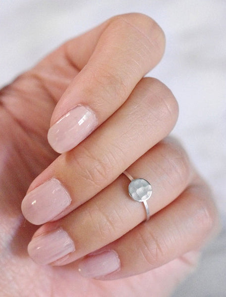 silver hammered circle midi ring
