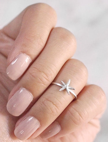 silver starfish midi ring