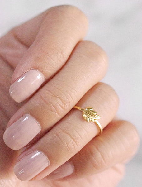 tiny gold leaf midi ring