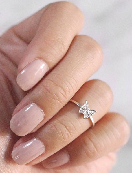 silver tiny butterfly midi ring