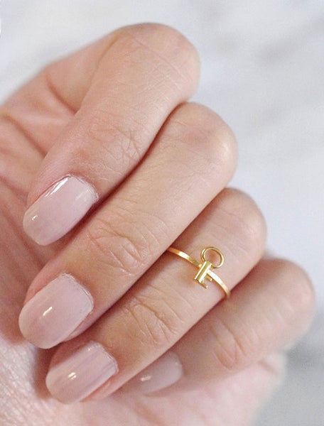 tiny gold key midi ring