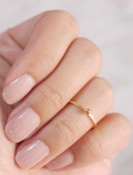gold tiny ball midi ring