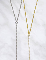 long Y drop slip necklace
