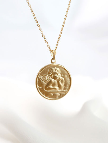 14k gold filled guardian angel coin pendant necklace