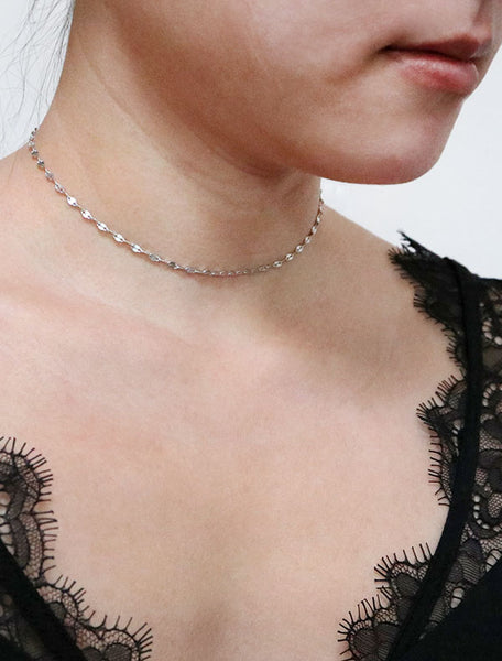 lace chain choker necklace modelled