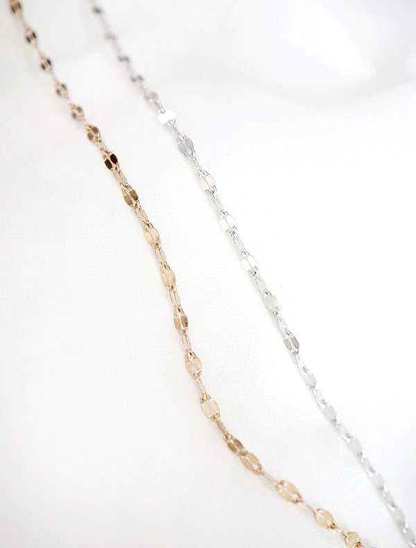 gold and silver bisous lace chain necklaces