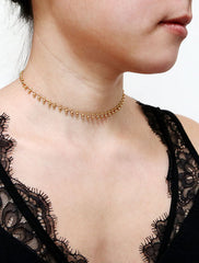 gold filled beaded chain choker modelled