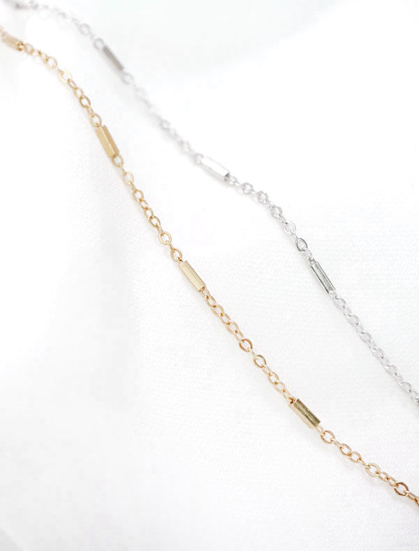 gold and silver dash chain necklaces