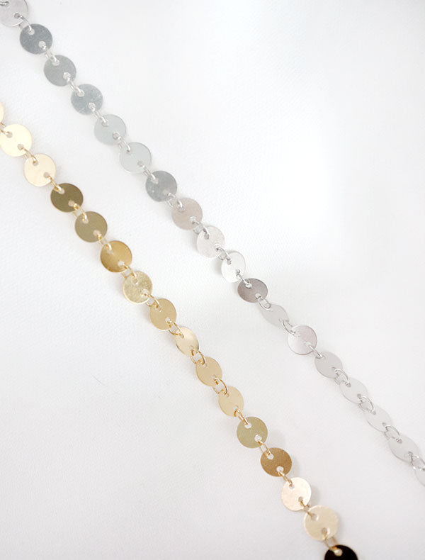 gold and silver large disc chain necklaces