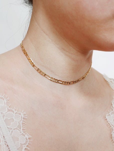 gold filled figaro chain choker modelled