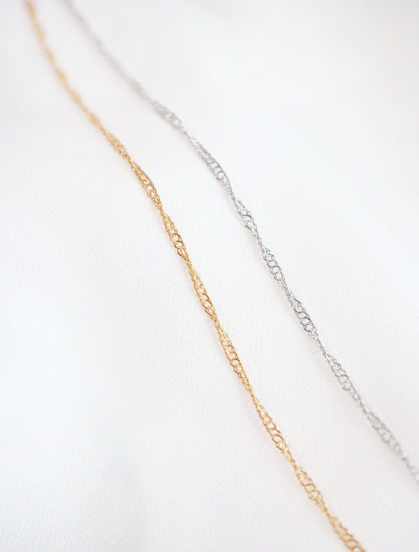 gold and silver twisted singapore chain necklace
