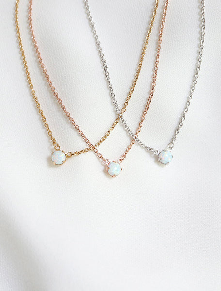 opal pendant necklace in gold fill, rose gold fill, silver fill