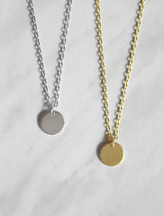 10mm circle tag necklace