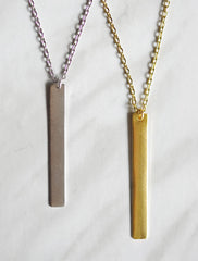 classic skinny bar necklace . vertical