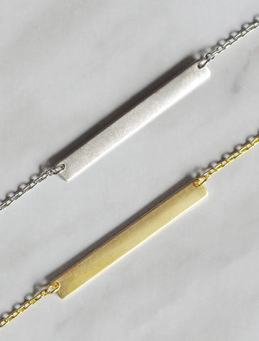 classic skinny bar necklace . horizontal