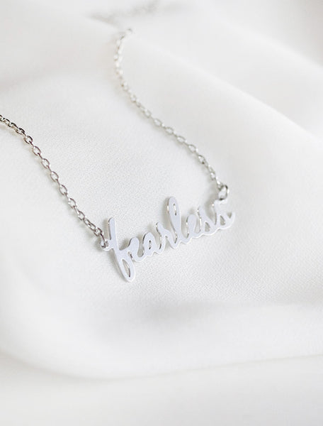 silver fearless necklace