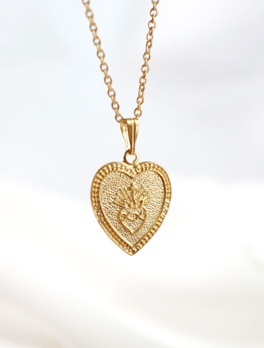 14k gold filled flaming heart necklace