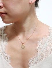 gold filled flaming heart necklace modelled