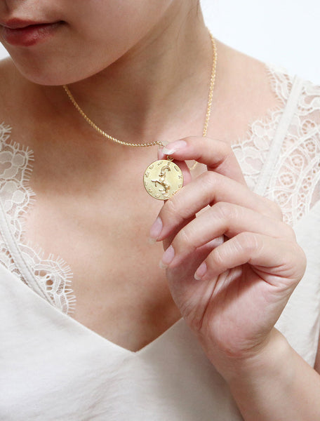 gold filled horoscope necklace modelled