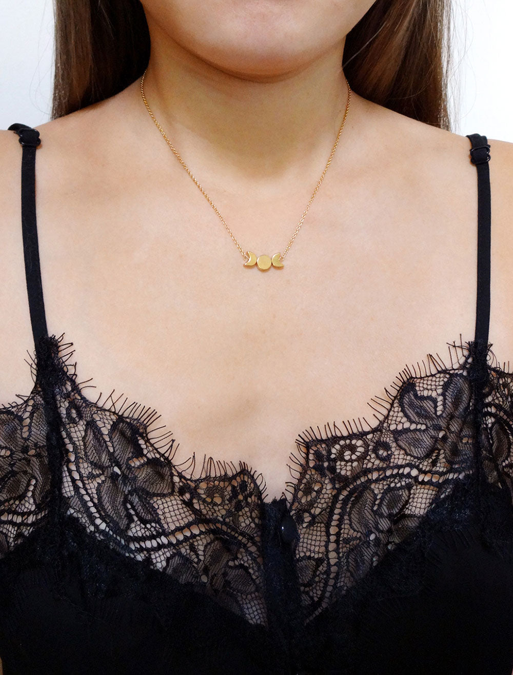 gold moon phase neckalce modelled