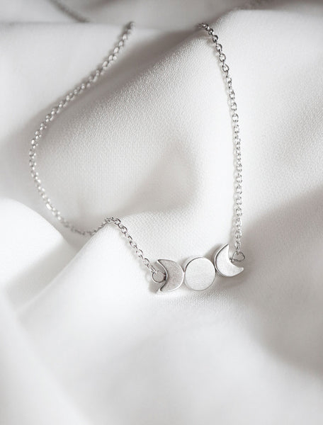 silver filled moon phase necklace